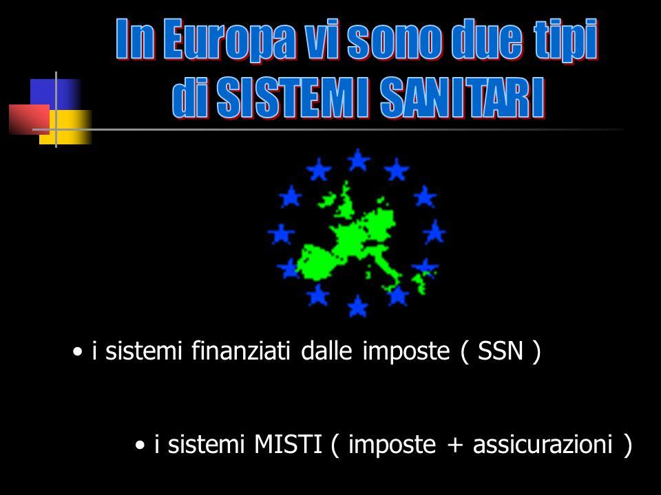 i sistemi finanziati dalle imposte ( SSN ) i sistemi MISTI ( imposte + assicurazioni )