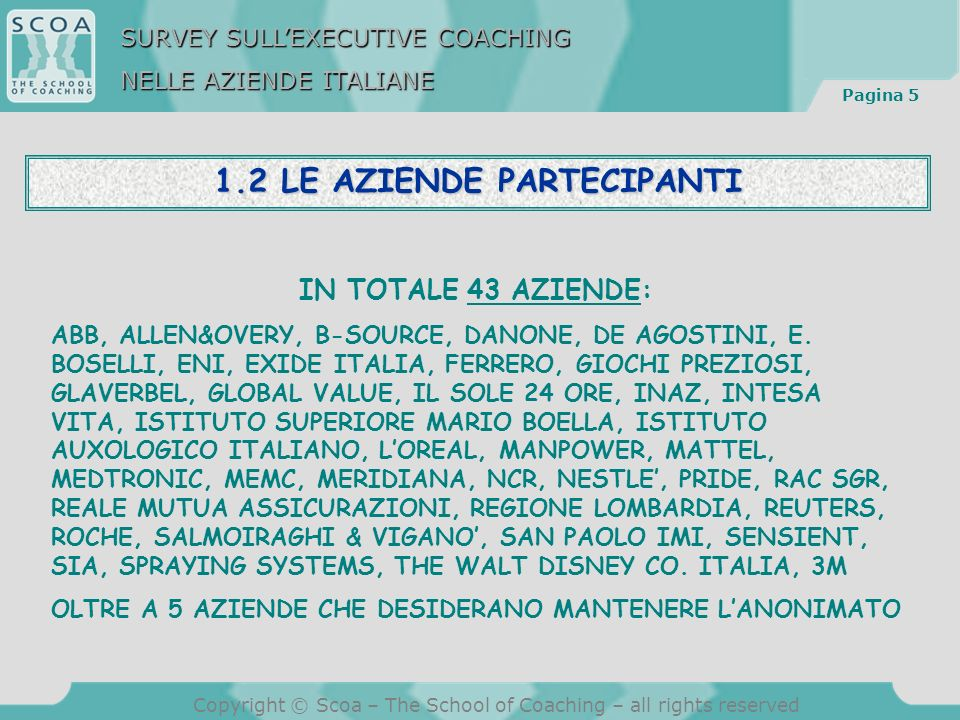 Pagina 5 Copyright © Scoa – The School of Coaching – all rights reserved 1.2 LE AZIENDE PARTECIPANTI IN TOTALE 43 AZIENDE: ABB, ALLEN&OVERY, B-SOURCE, DANONE, DE AGOSTINI, E.