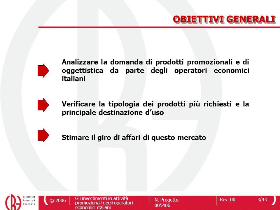 © 2006 Gli investimenti in attività promozionali degli operatori economici italiani N. Progetto 005406 Rev. 003/43 Analizzare la domanda di prodotti p