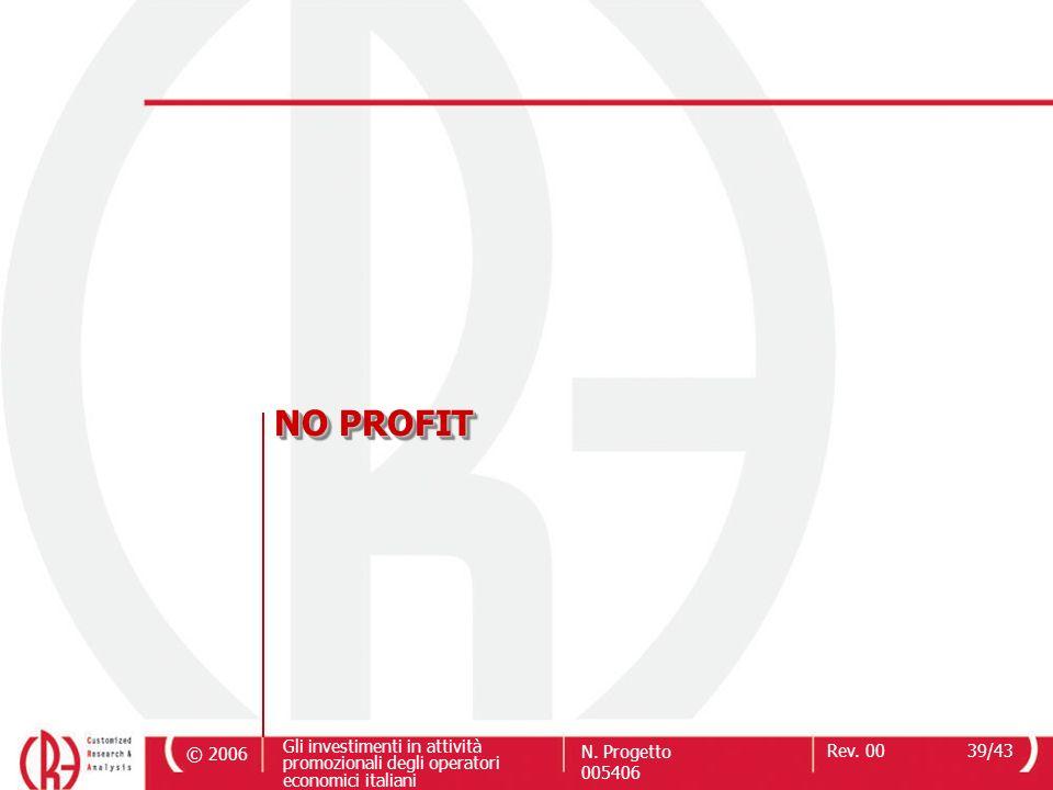 © 2006 Gli investimenti in attività promozionali degli operatori economici italiani N. Progetto 005406 Rev. 0039/43 NO PROFIT
