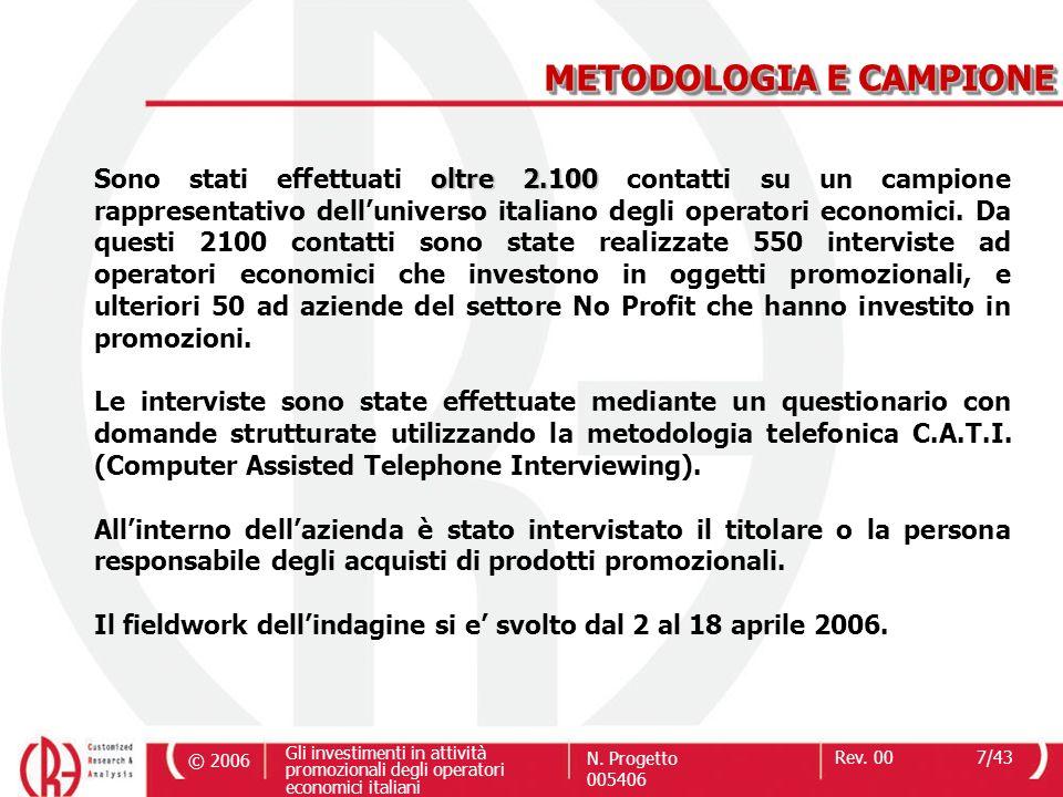 © 2006 Gli investimenti in attività promozionali degli operatori economici italiani N. Progetto 005406 Rev. 007/43 oltre 2.100 Sono stati effettuati o