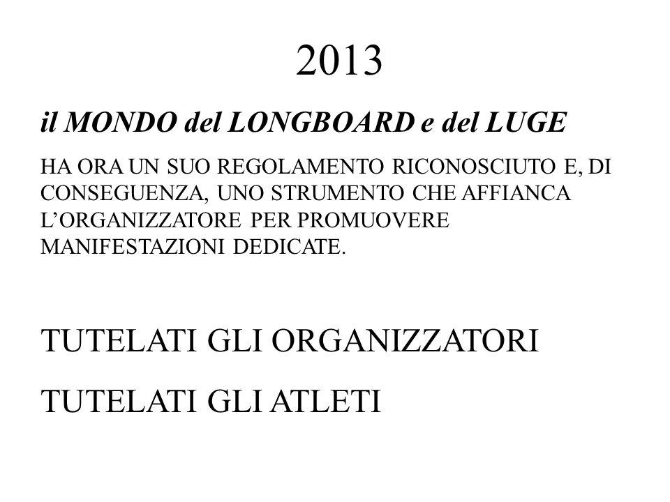 2013 il MONDO del LONGBOARD e del LUGE HA ORA UN SUO REGOLAMENTO RICONOSCIUTO E, DI CONSEGUENZA, UNO STRUMENTO CHE AFFIANCA LORGANIZZATORE PER PROMUOVERE MANIFESTAZIONI DEDICATE.