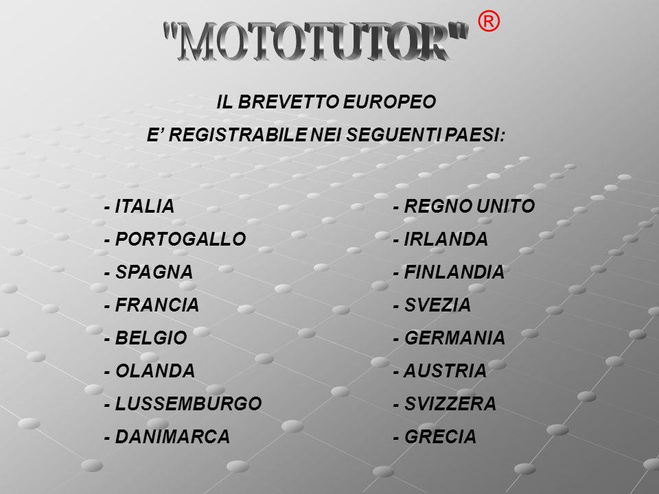 - ITALIA - PORTOGALLO - SPAGNA - FRANCIA - BELGIO - OLANDA - LUSSEMBURGO - DANIMARCA IL BREVETTO EUROPEO E REGISTRABILE NEI SEGUENTI PAESI: - REGNO UNITO - IRLANDA - FINLANDIA - SVEZIA - GERMANIA - AUSTRIA - SVIZZERA - GRECIA ®