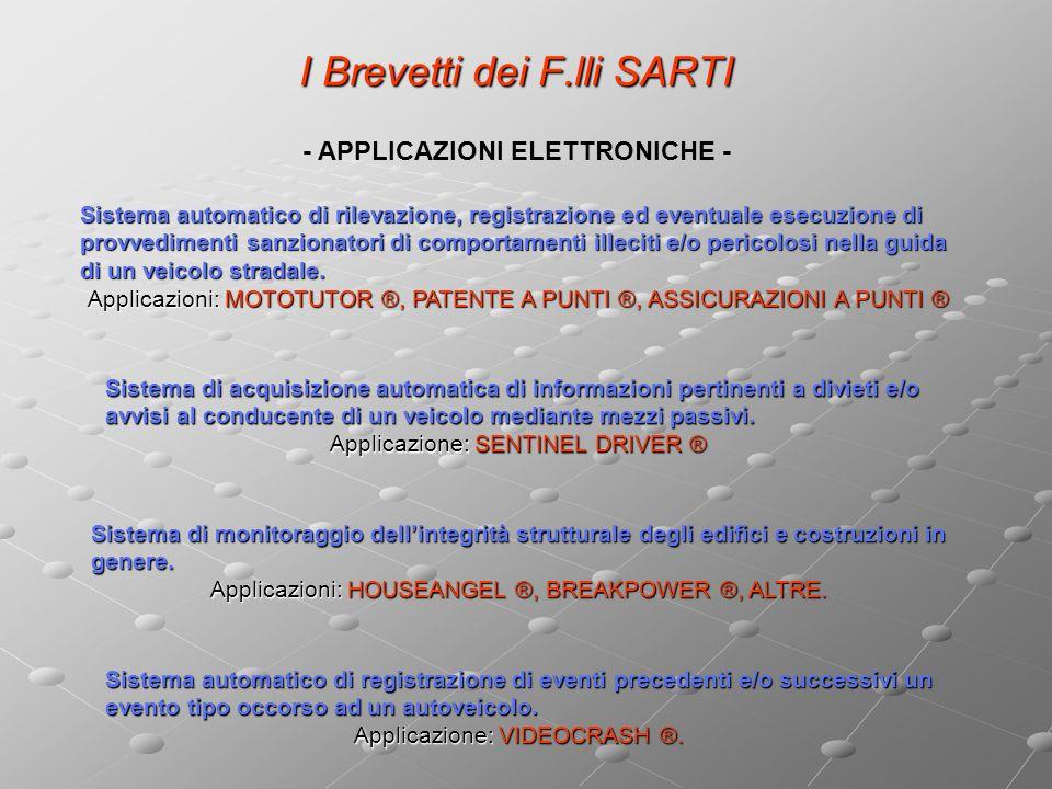 I Brevetti dei F.lli SARTI Sistema di monitoraggio dellintegrità strutturale degli edifici e costruzioni in genere.