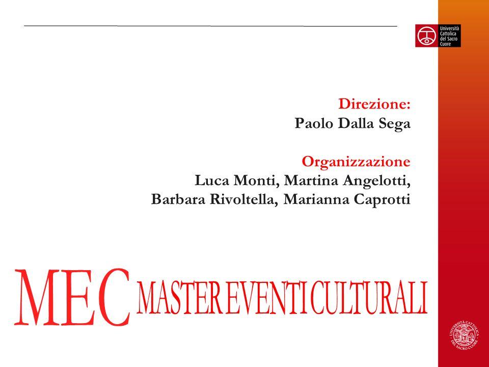 Direzione: Paolo Dalla Sega Organizzazione Luca Monti, Martina Angelotti, Barbara Rivoltella, Marianna Caprotti