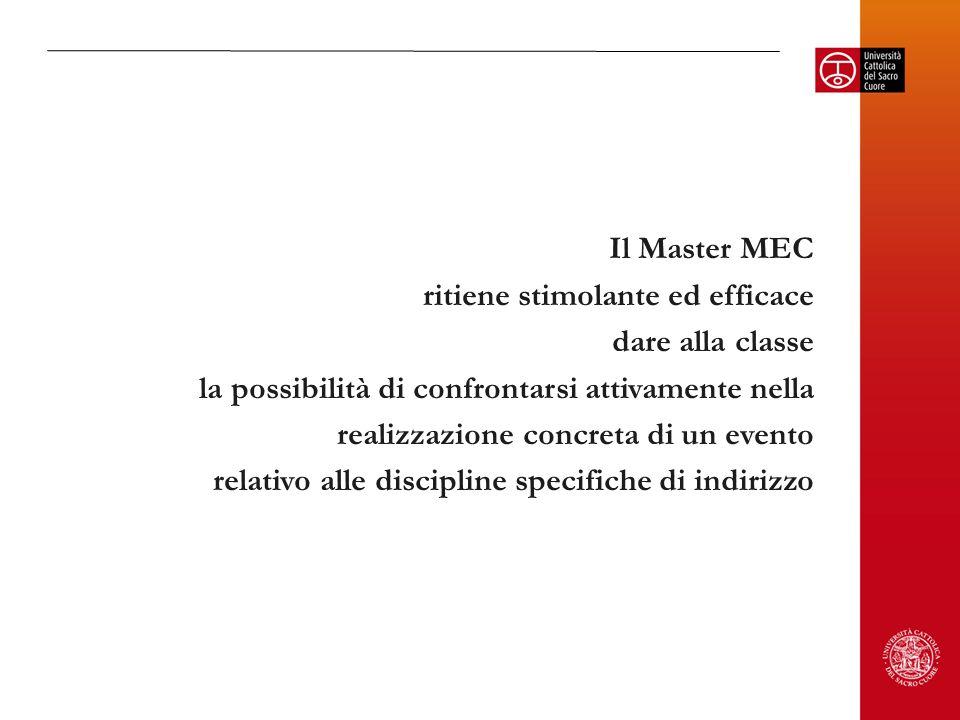 Il Master MEC ritiene stimolante ed efficace dare alla classe la possibilità di confrontarsi attivamente nella realizzazione concreta di un evento relativo alle discipline specifiche di indirizzo