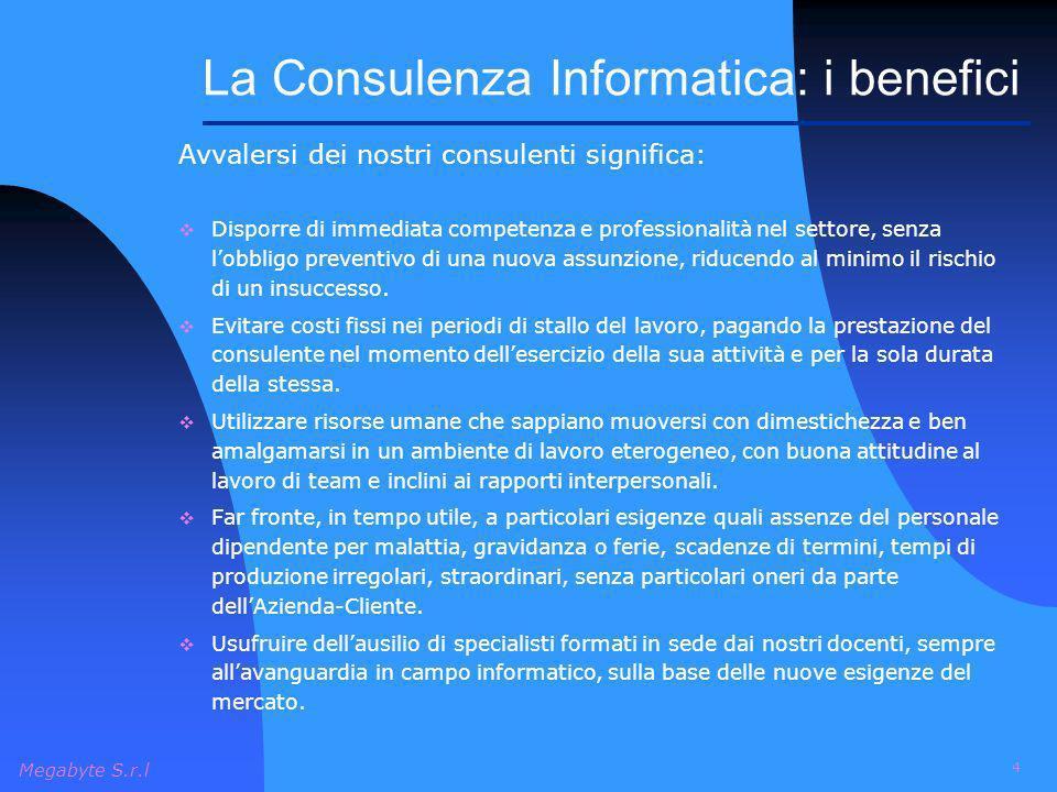 Megabyte S.r.l 4 Avvalersi dei nostri consulenti significa: Disporre di immediata competenza e professionalità nel settore, senza lobbligo preventivo