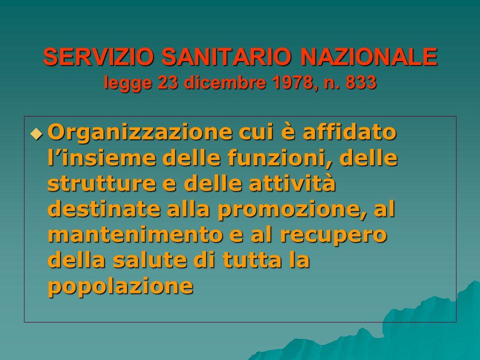 SERVIZIO SANITARIO NAZIONALE legge 23 dicembre 1978, n. 833 Organizzazione cui è affidato linsieme delle funzioni, delle strutture e delle attività de