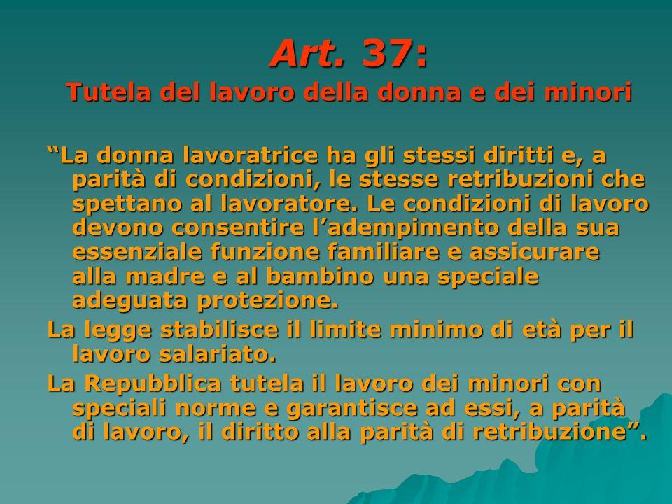 Art. 37: Tutela del lavoro della donna e dei minori La donna lavoratrice ha gli stessi diritti e, a parità di condizioni, le stesse retribuzioni che s