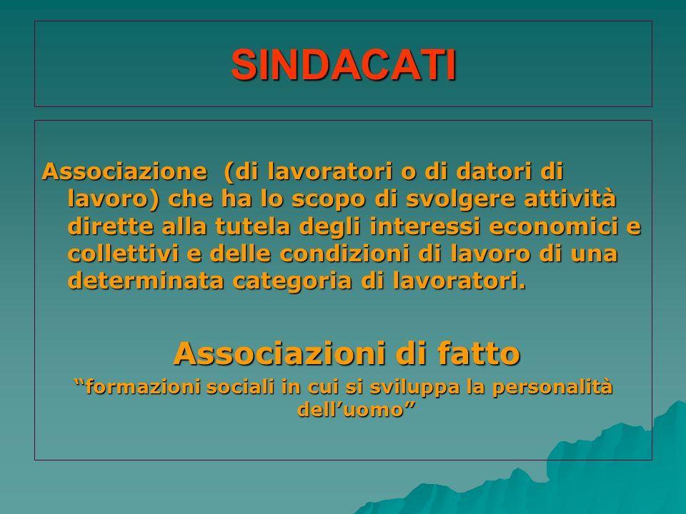 SINDACATI Associazione (di lavoratori o di datori di lavoro) che ha lo scopo di svolgere attività dirette alla tutela degli interessi economici e coll