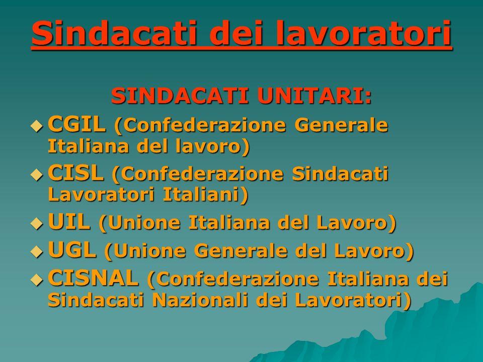 Sindacati dei lavoratori SINDACATI UNITARI: CGIL (Confederazione Generale Italiana del lavoro) CGIL (Confederazione Generale Italiana del lavoro) CISL