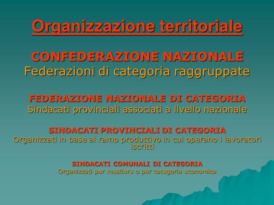 Organizzazione territoriale CONFEDERAZIONE NAZIONALE Federazioni di categoria raggruppate FEDERAZIONE NAZIONALE DI CATEGORIA Sindacati provinciali ass