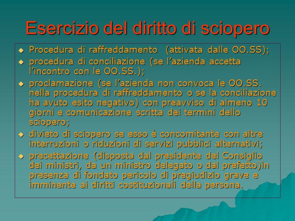 Esercizio del diritto di sciopero Procedura di raffreddamento (attivata dalle OO.SS); Procedura di raffreddamento (attivata dalle OO.SS); procedura di