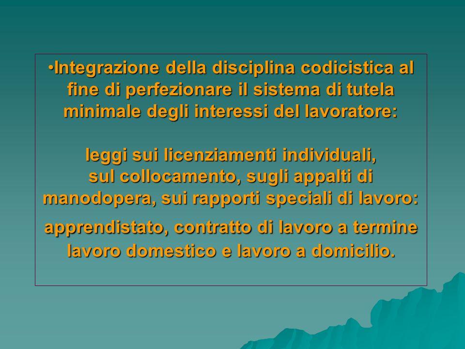 Integrazione della disciplina codicistica al fine di perfezionare il sistema di tutela minimale degli interessi del lavoratore:Integrazione della disc