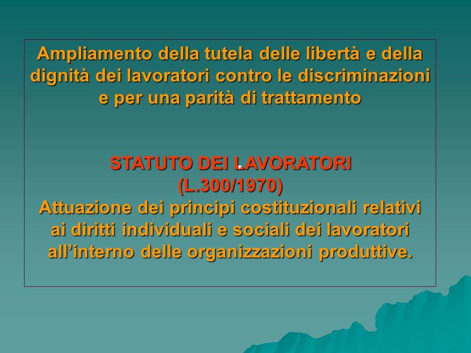 Ampliamento della tutela delle libertà e della dignità dei lavoratori contro le discriminazioni e per una parità di trattamento STATUTO DEI LAVORATORI