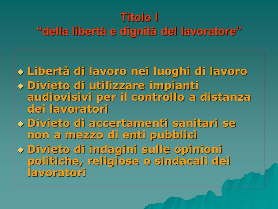 Titolo I della libertà e dignità del lavoratore Libertà di lavoro nei luoghi di lavoro Libertà di lavoro nei luoghi di lavoro Divieto di utilizzare im