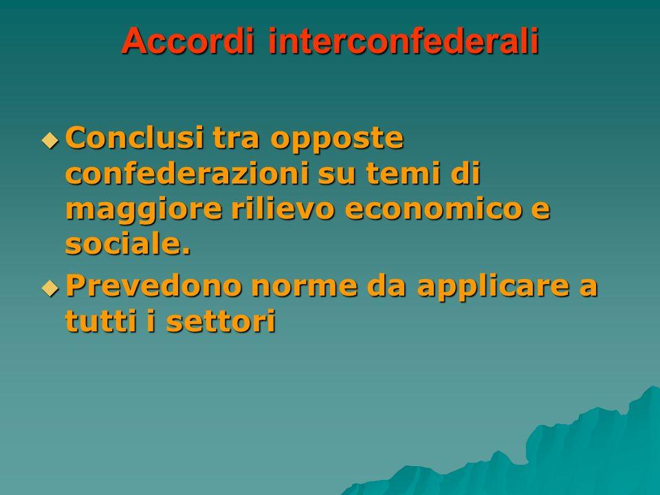 Accordi interconfederali Conclusi tra opposte confederazioni su temi di maggiore rilievo economico e sociale. Conclusi tra opposte confederazioni su t