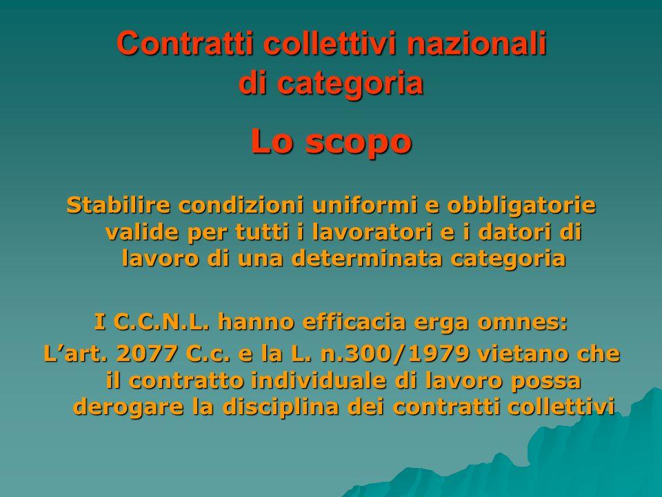 Contratti collettivi nazionali di categoria Lo scopo Stabilire condizioni uniformi e obbligatorie valide per tutti i lavoratori e i datori di lavoro d