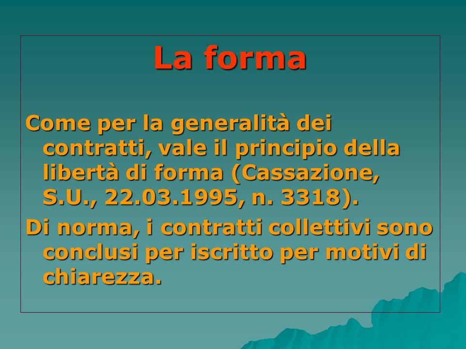 La forma Come per la generalità dei contratti, vale il principio della libertà di forma (Cassazione, S.U., 22.03.1995, n. 3318). Di norma, i contratti