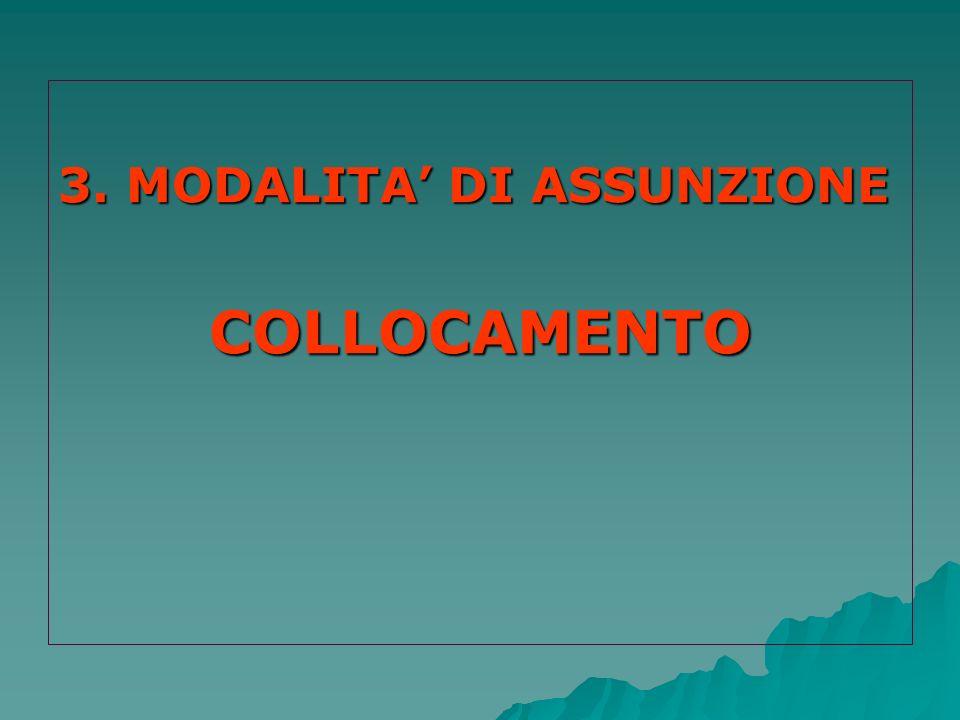 3. MODALITA DI ASSUNZIONE COLLOCAMENTO