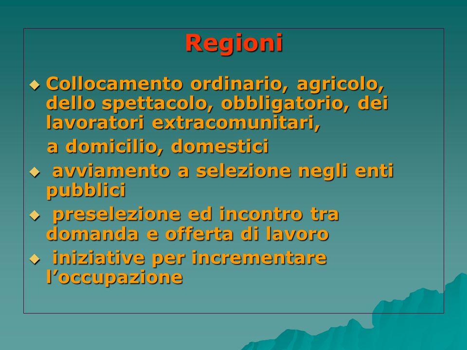 Regioni Collocamento ordinario, agricolo, dello spettacolo, obbligatorio, dei lavoratori extracomunitari, Collocamento ordinario, agricolo, dello spet