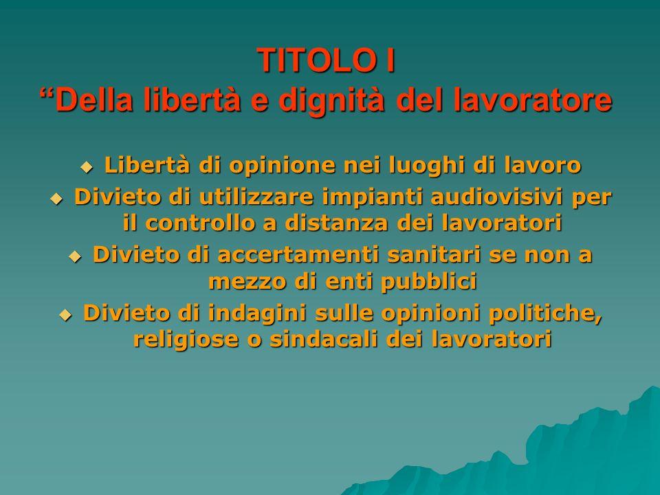 TITOLO I Della libertà e dignità del lavoratore Libertà di opinione nei luoghi di lavoro Libertà di opinione nei luoghi di lavoro Divieto di utilizzar