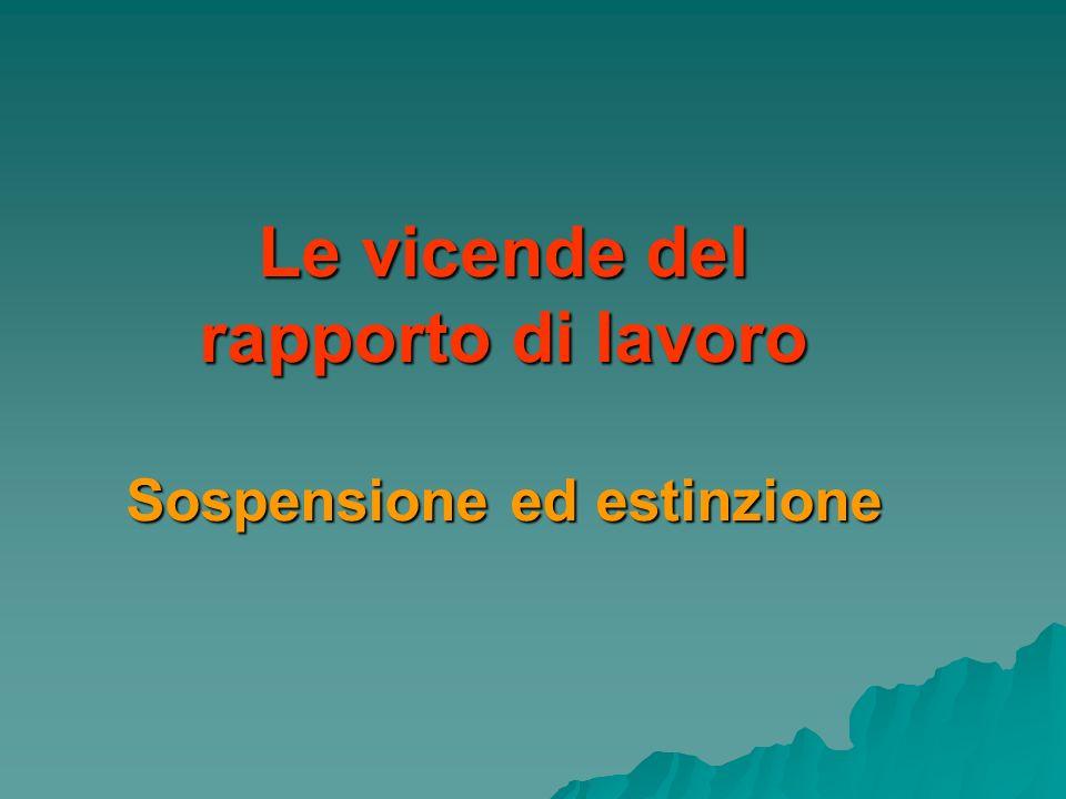Le vicende del rapporto di lavoro Sospensione ed estinzione