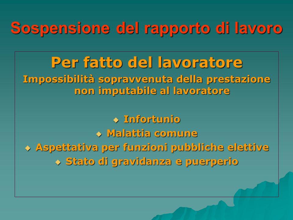 Sospensione del rapporto di lavoro Per fatto del lavoratore Impossibilità sopravvenuta della prestazione non imputabile al lavoratore Infortunio Infor