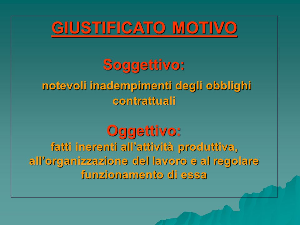 GIUSTIFICATO MOTIVO Soggettivo: notevoli inadempimenti degli obblighi contrattuali notevoli inadempimenti degli obblighi contrattualiOggettivo: fatti