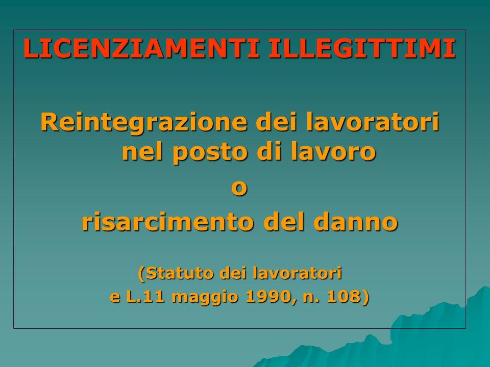 LICENZIAMENTI ILLEGITTIMI Reintegrazione dei lavoratori nel posto di lavoro o risarcimento del danno (Statuto dei lavoratori e L.11 maggio 1990, n. 10