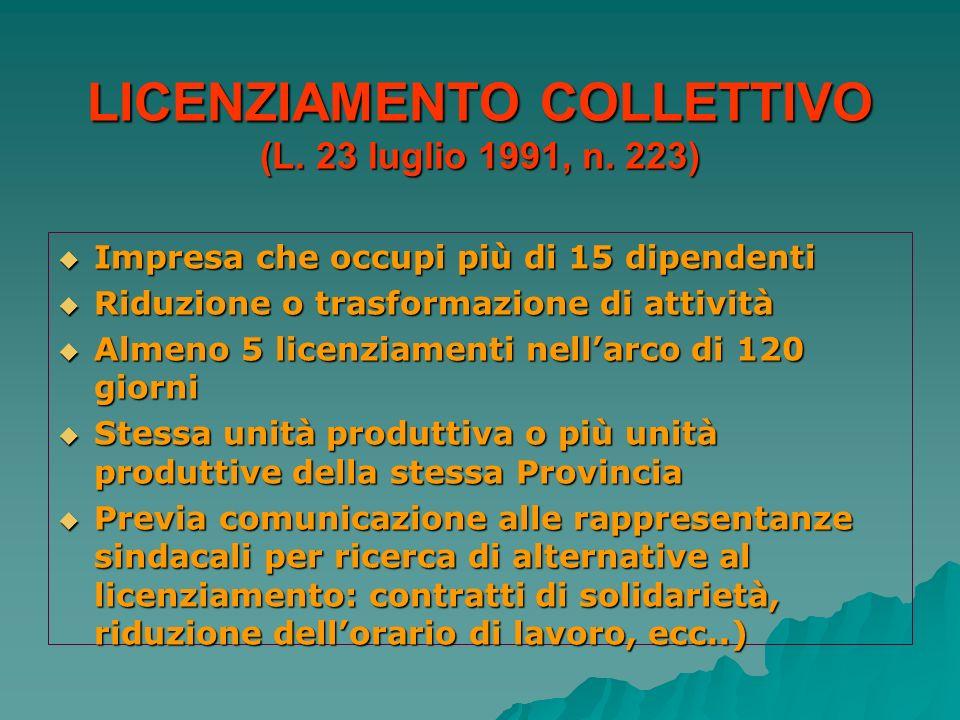 LICENZIAMENTO COLLETTIVO (L. 23 luglio 1991, n. 223) Impresa che occupi più di 15 dipendenti Impresa che occupi più di 15 dipendenti Riduzione o trasf