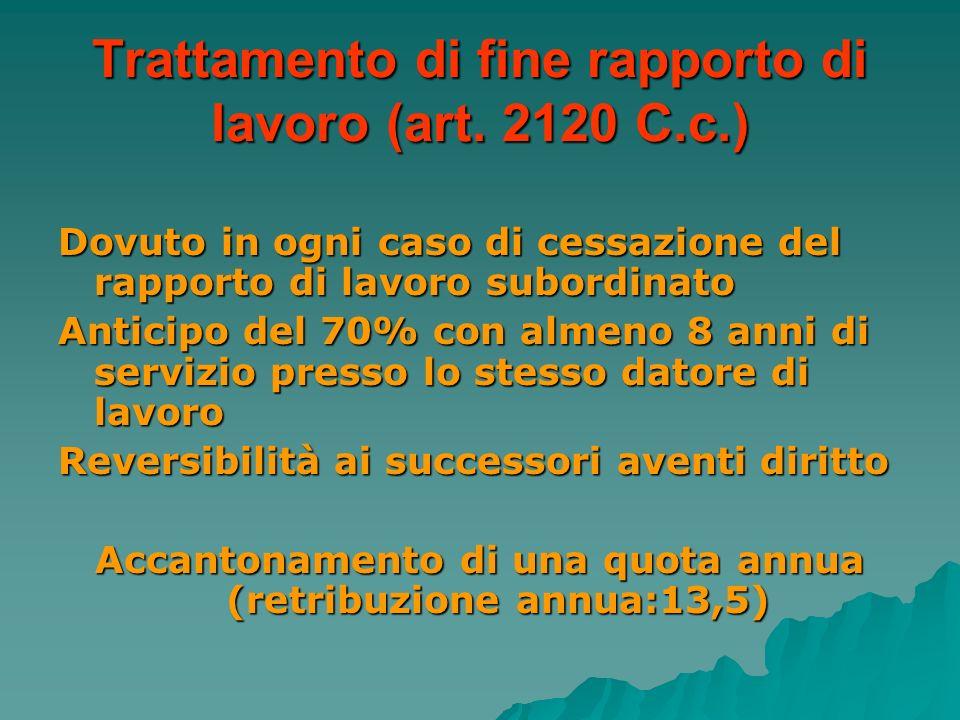 Trattamento di fine rapporto di lavoro (art. 2120 C.c.) Dovuto in ogni caso di cessazione del rapporto di lavoro subordinato Anticipo del 70% con alme