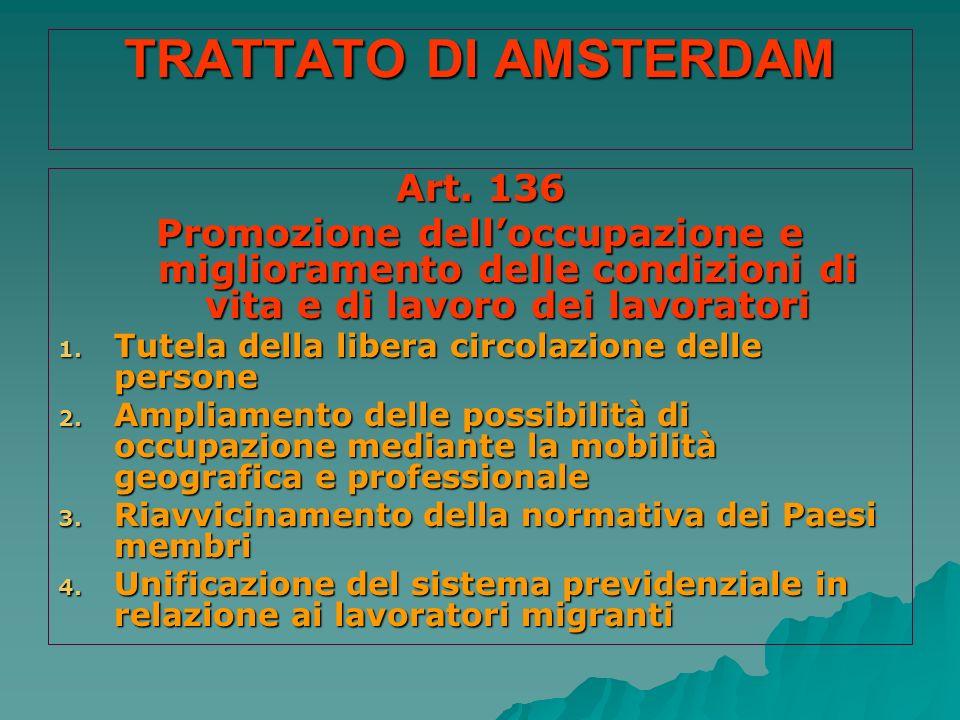 TRATTATO DI AMSTERDAM Art. 136 Promozione delloccupazione e miglioramento delle condizioni di vita e di lavoro dei lavoratori 1. Tutela della libera c