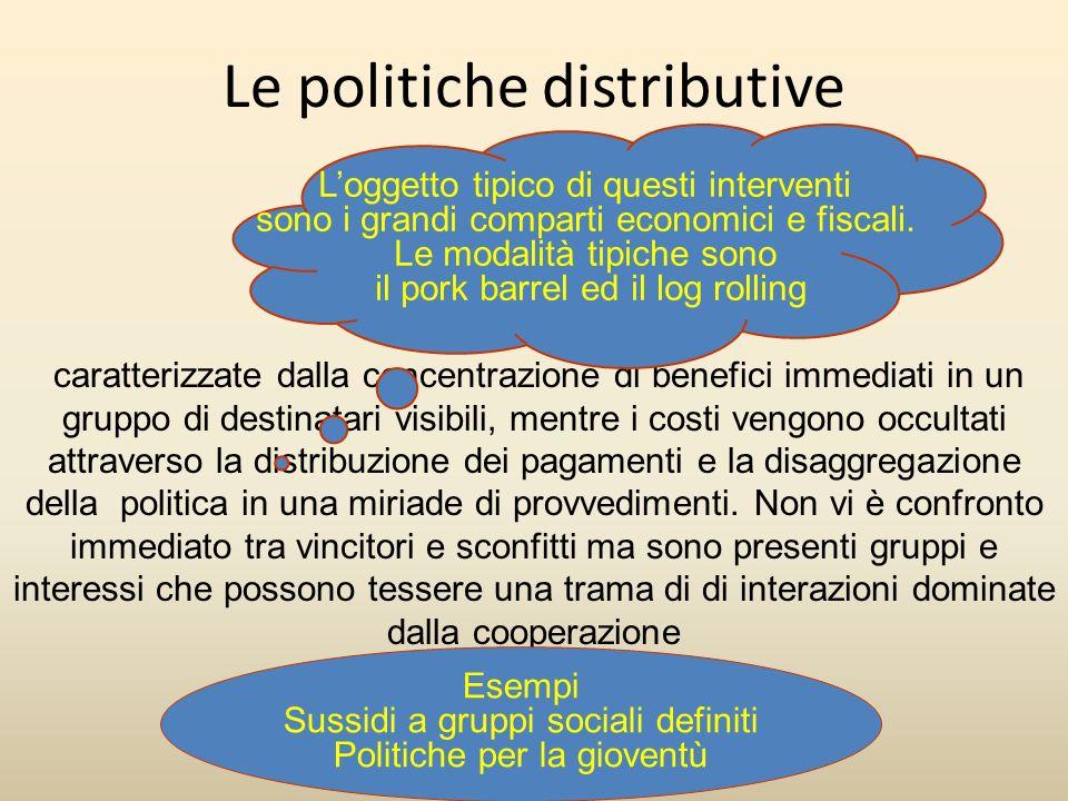 Le politiche distributive caratterizzate dalla concentrazione di benefici immediati in un gruppo di destinatari visibili, mentre i costi vengono occul