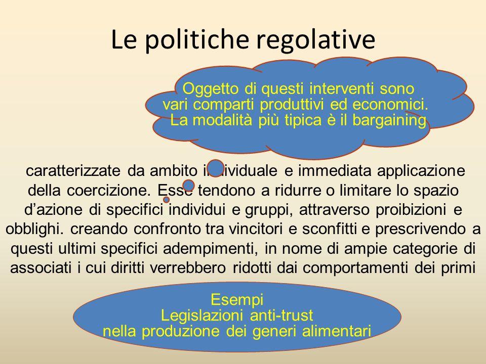 Le politiche regolative caratterizzate da ambito individuale e immediata applicazione della coercizione. Esse tendono a ridurre o limitare lo spazio d