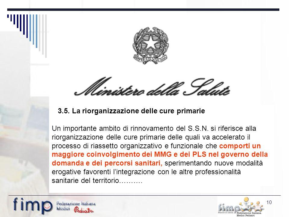 10 3.5. La riorganizzazione delle cure primarie Un importante ambito di rinnovamento del S.S.N.