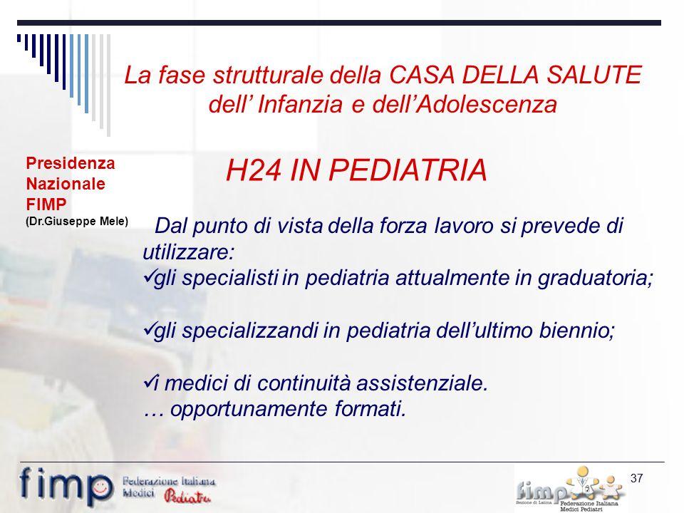 37 H24 IN PEDIATRIA Dal punto di vista della forza lavoro si prevede di utilizzare: gli specialisti in pediatria attualmente in graduatoria; gli specializzandi in pediatria dellultimo biennio; i medici di continuità assistenziale.