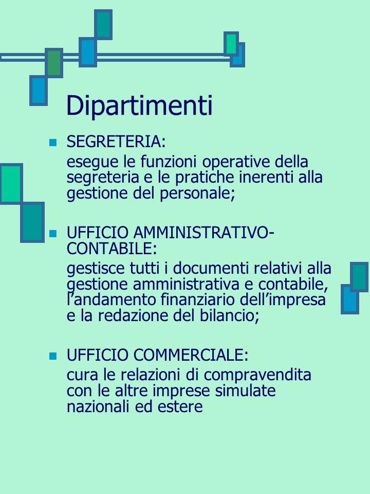 Dipartimenti SEGRETERIA: esegue le funzioni operative della segreteria e le pratiche inerenti alla gestione del personale; UFFICIO AMMINISTRATIVO- CON