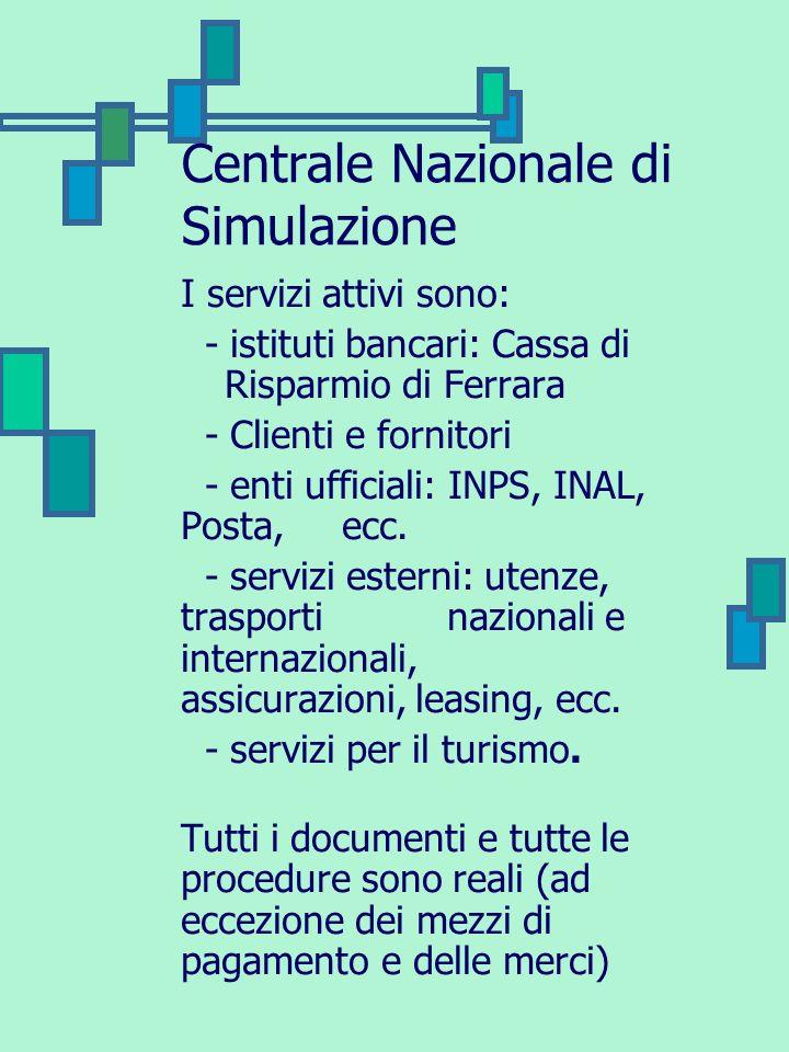 Centrale Nazionale di Simulazione I servizi attivi sono: - istituti bancari: Cassa di Risparmio di Ferrara - Clienti e fornitori - enti ufficiali: INP