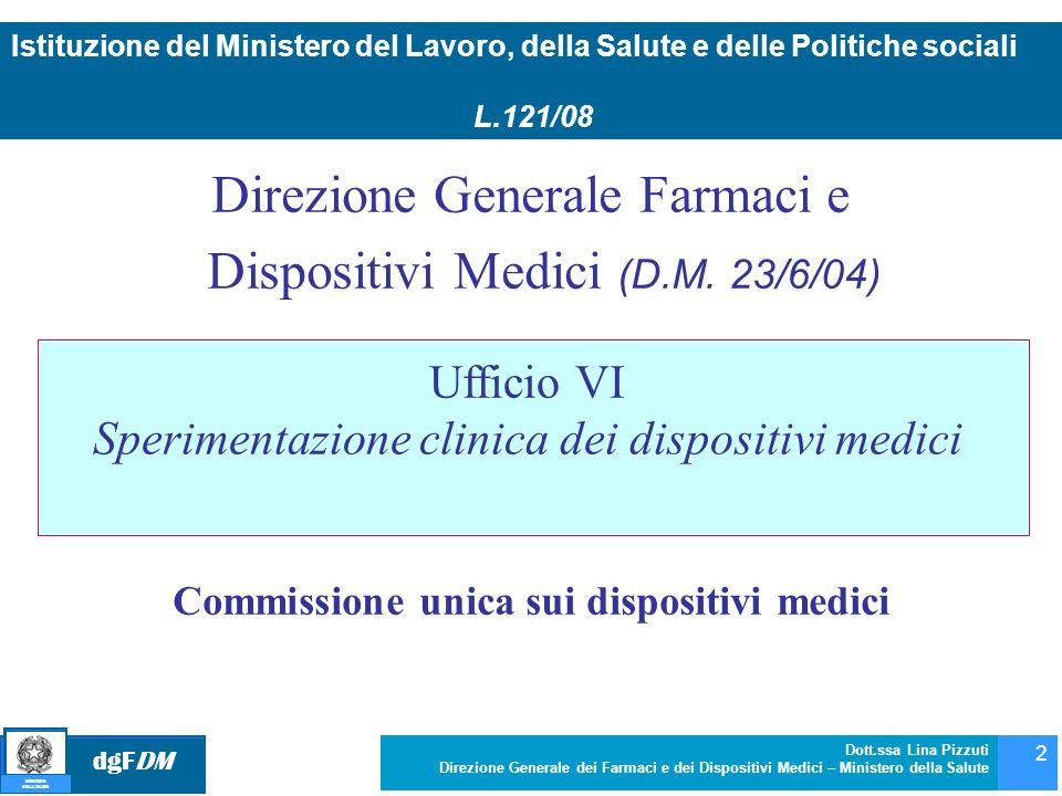 dgFDM MINISTERO DELLA SALUTE Dott.ssa Lina Pizzuti Direzione Generale dei Farmaci e dei Dispositivi Medici – Ministero della Salute 2 Direzione Genera