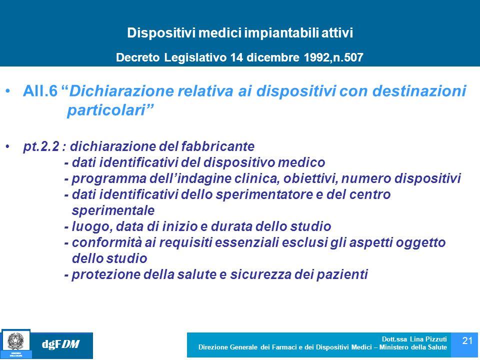 dgFDM MINISTERO DELLA SALUTE Dott.ssa Lina Pizzuti Direzione Generale dei Farmaci e dei Dispositivi Medici – Ministero della Salute 21 Dispositivi med