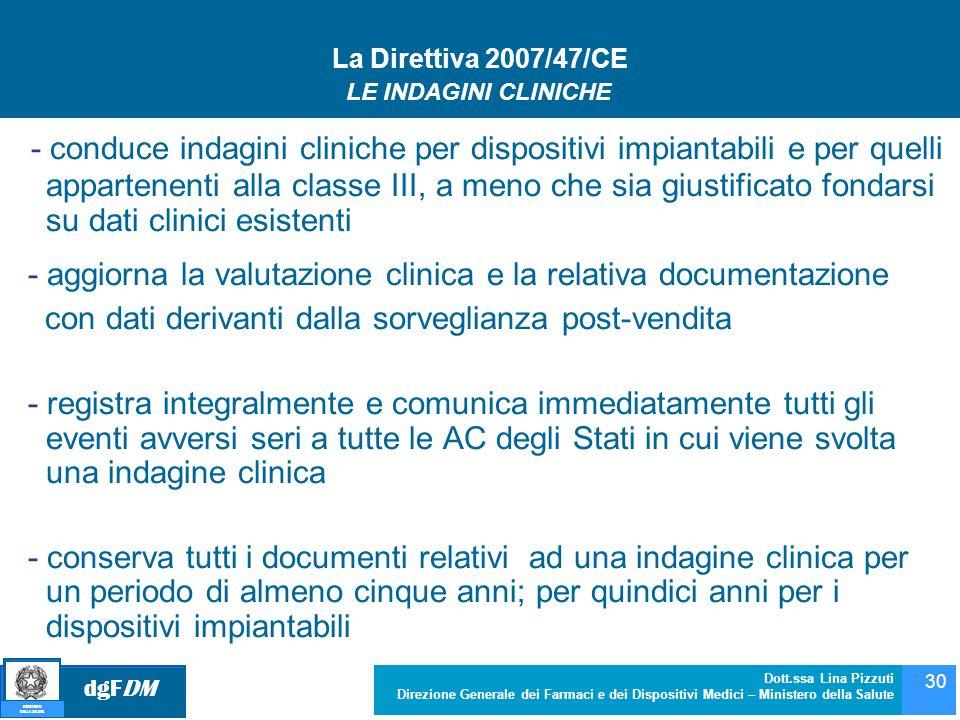 dgFDM MINISTERO DELLA SALUTE Dott.ssa Lina Pizzuti Direzione Generale dei Farmaci e dei Dispositivi Medici – Ministero della Salute 30 La Direttiva 20