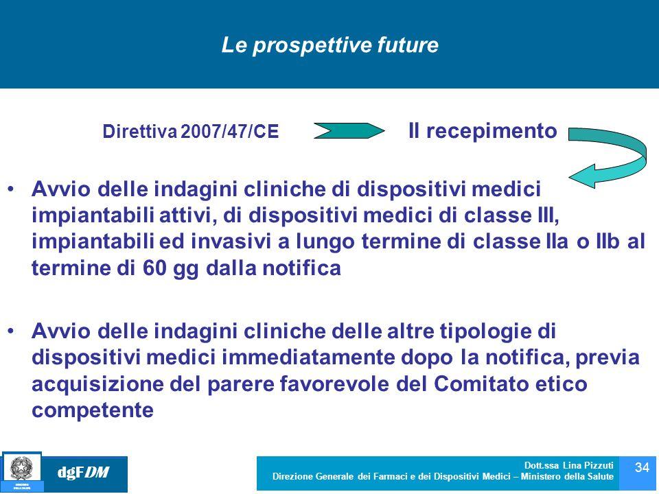 dgFDM MINISTERO DELLA SALUTE Dott.ssa Lina Pizzuti Direzione Generale dei Farmaci e dei Dispositivi Medici – Ministero della Salute 34 Le prospettive