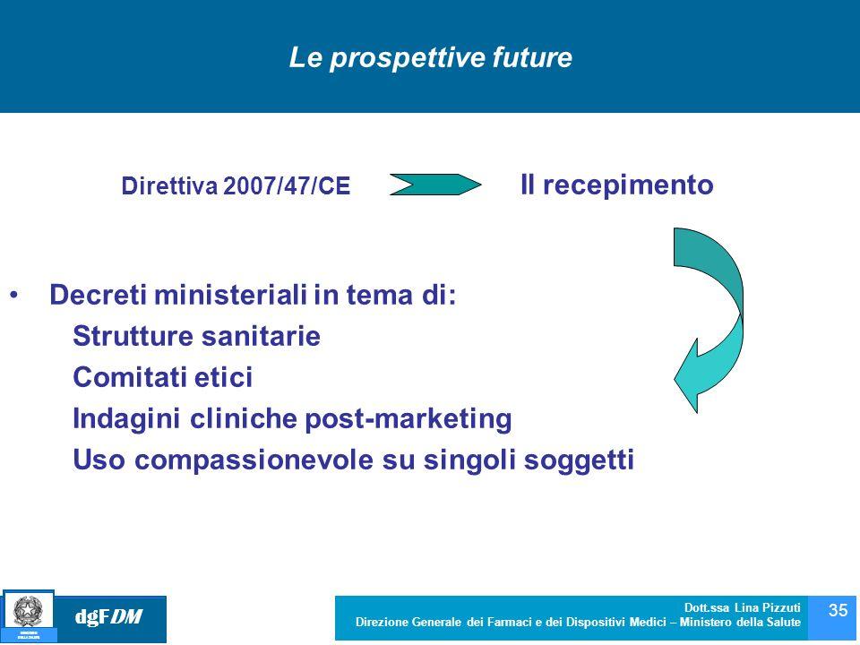 dgFDM MINISTERO DELLA SALUTE Dott.ssa Lina Pizzuti Direzione Generale dei Farmaci e dei Dispositivi Medici – Ministero della Salute 35 Direttiva 2007/