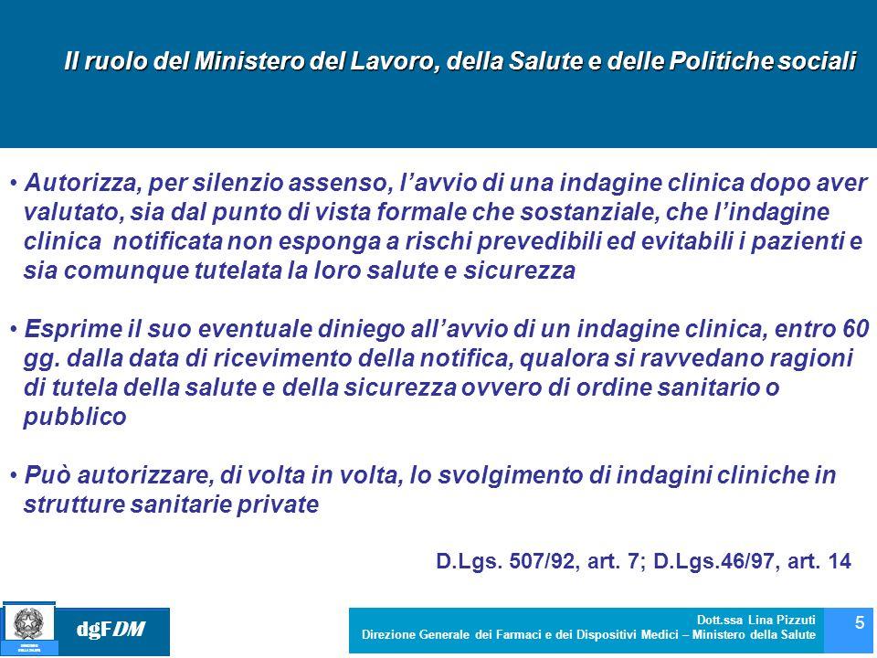 dgFDM MINISTERO DELLA SALUTE Dott.ssa Lina Pizzuti Direzione Generale dei Farmaci e dei Dispositivi Medici – Ministero della Salute 5 Il ruolo del Min