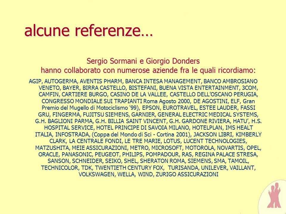 alcune referenze… Sergio Sormani e Giorgio Donders hanno collaborato con numerose aziende fra le quali ricordiamo: AGIP, AUTOGERMA, AVENTIS PHARM, BAN