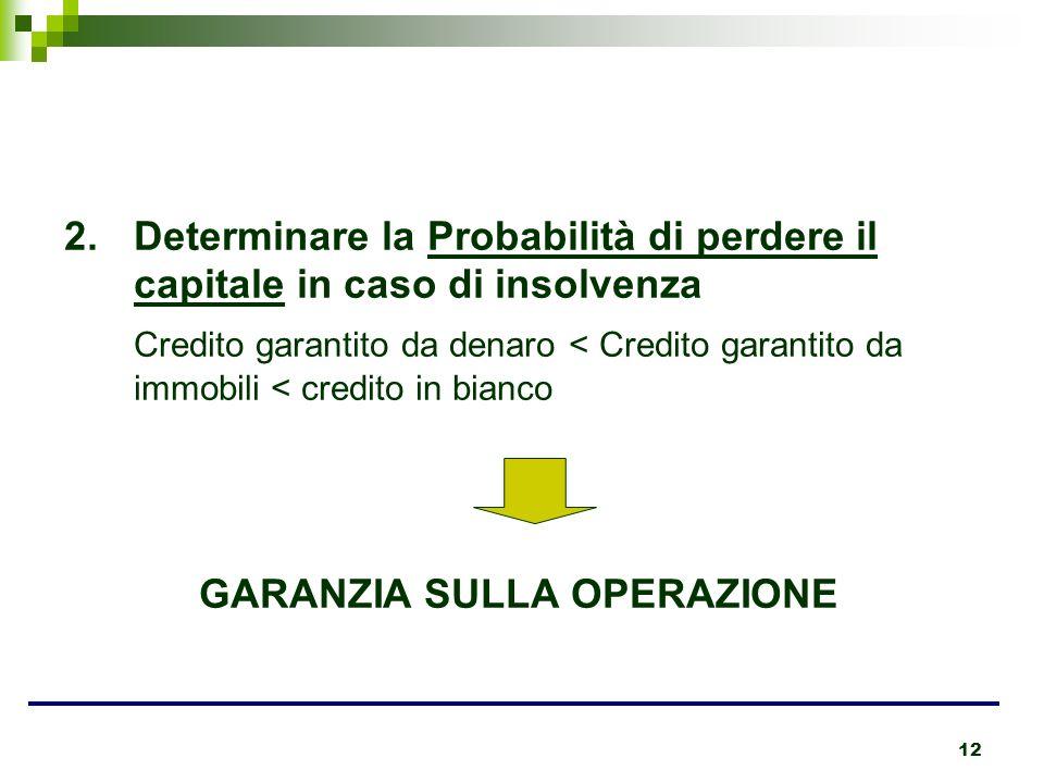 12 2.Determinare la Probabilità di perdere il capitale in caso di insolvenza Credito garantito da denaro < Credito garantito da immobili < credito in