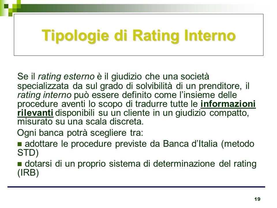 19 Tipologie di Rating Interno Se il rating esterno è il giudizio che una società specializzata da sul grado di solvibilità di un prenditore, il ratin