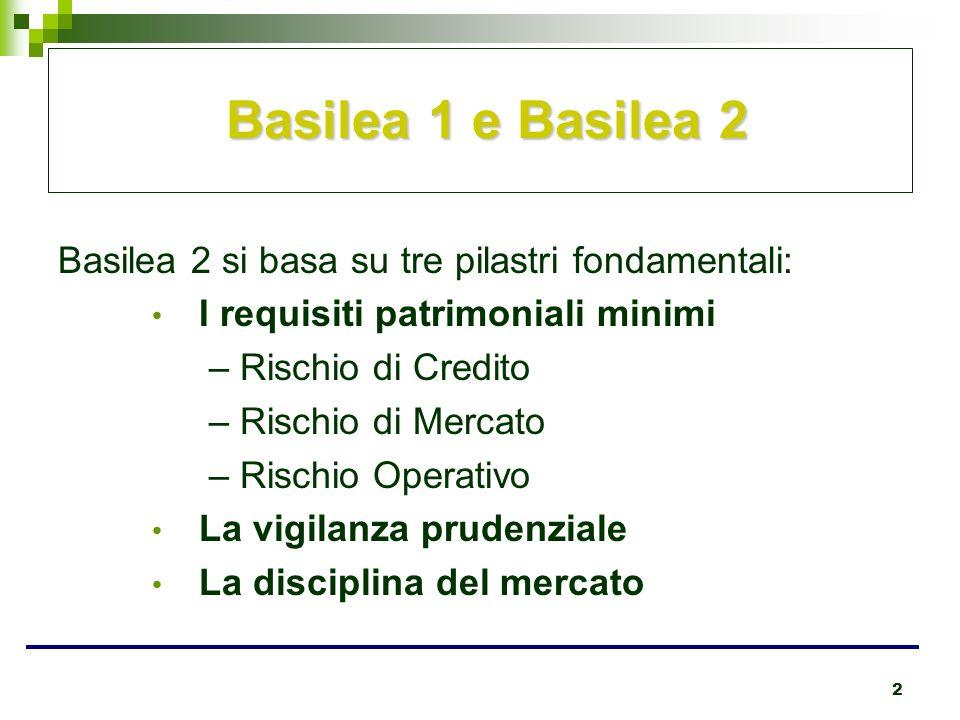 2 Basilea 1 e Basilea 2 Basilea 1 e Basilea 2 Basilea 2 si basa su tre pilastri fondamentali: I requisiti patrimoniali minimi – Rischio di Credito – R