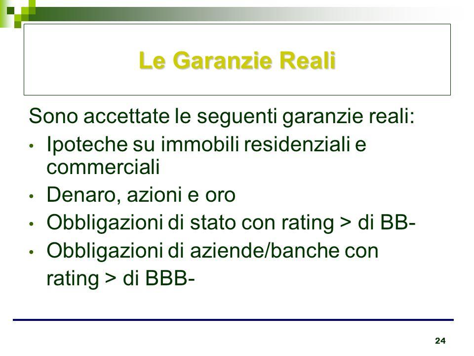 24 Le Garanzie Reali Sono accettate le seguenti garanzie reali: Ipoteche su immobili residenziali e commerciali Denaro, azioni e oro Obbligazioni di s